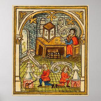 Leerlingen in een Middeleeuws Laboratorium Poster