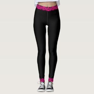 Leggings 4Tina rose et noir fuchsia