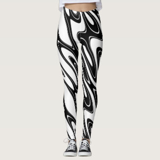 Leggings Abrégé sur noir et blanc vague