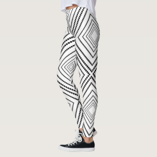 Leggings Carrés abstraits noirs et blancs