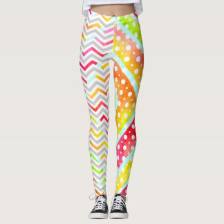 Leggings Chevron coloré d'aquarelle, guêtres de point de