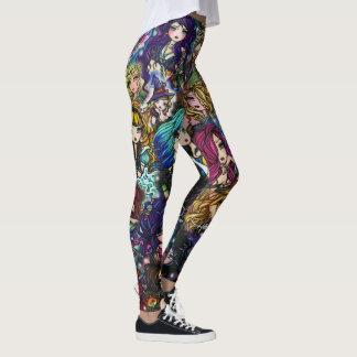 Leggings Collage de fées de sirène d'art d'imaginaire de