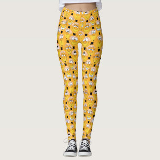 Leggings Conception à la mode jaune d'Emoji d'amusement