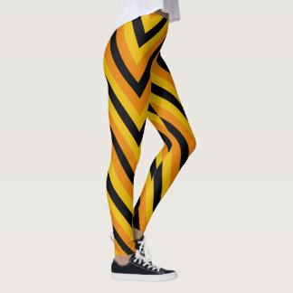 Leggings Couleur jaune-orange noire de Chevron Halloween de