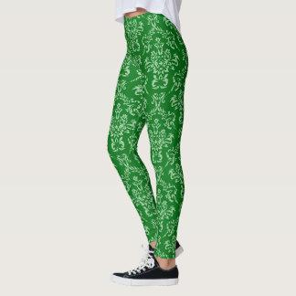 Leggings Damassé française verte à la mode