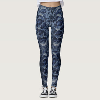 Leggings Denim en pierre Legginggs d'ondulation de lavage