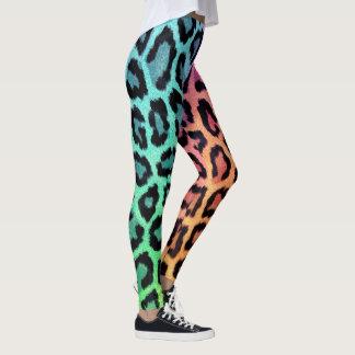 Leggings Empreinte de léopard d'arc-en-ciel