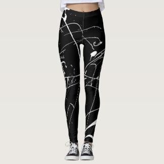 Leggings Floc noir et blanc de peinture