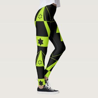 Leggings Formes de triangles et yoga verts au néon