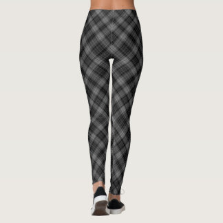 Leggings Grande diagonale grise et noire de plaid de tartan