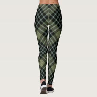 Leggings Grande diagonale verte et noire de plaid de tartan