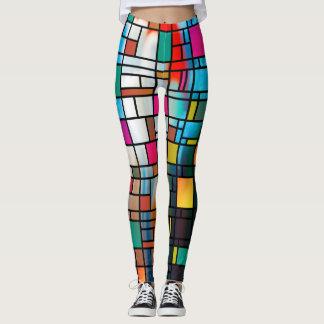 Leggings Guêtres abstraites de motif de grille d'art