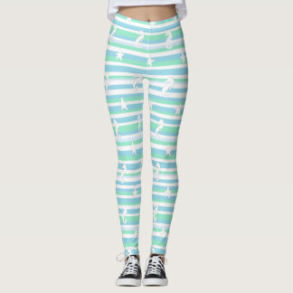 Leggings Guêtres de blanc de vert bleu d'hippocampe et