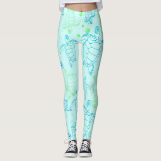 Leggings Guêtres de l'eau bleue de tortues