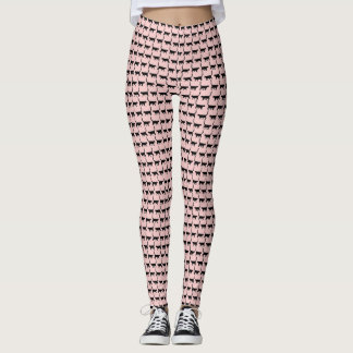 Leggings Guêtres d'impression de chats noirs de quartz rose