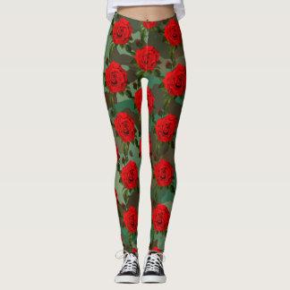 Leggings Guêtres d'impression de rose rouge de Camo