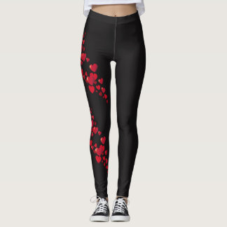 Leggings Guêtres en forme de coeur rouges