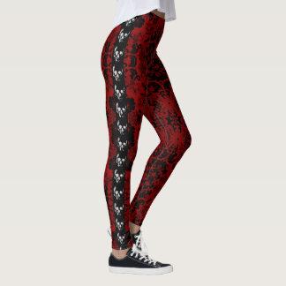 Leggings Guêtres rouges de Goth de crânes de damassé