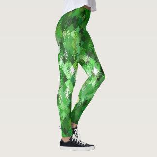 Leggings Guêtres vertes de motif de harlequin de