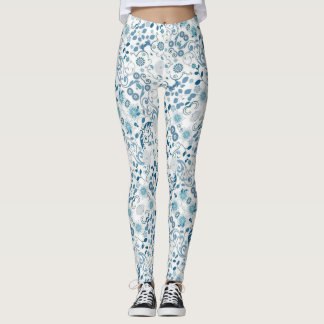 Leggings Impression florale bleue et blanche