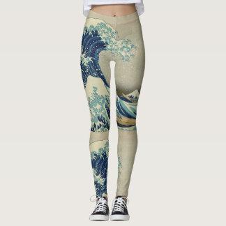 Leggings Katsushika Hokusai les grandes guêtres de vague