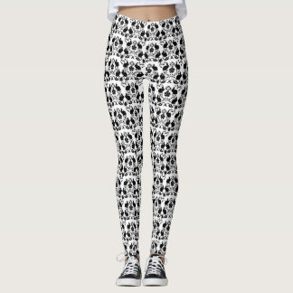 Leggings Lapin et motif rose de damassé