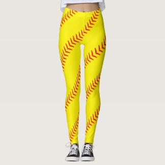 Leggings Le base-ball jaune lumineux pique des guêtres (de
