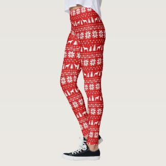 Leggings Le limier écossais silhouette le motif de Noël