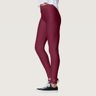 Leggings Le yoga rose solide de monogramme de Bourgogne