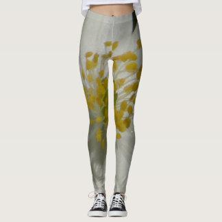 Leggings Leggins blancs et fleur jaune