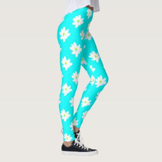 Leggings Ménagerie florale de turquoise