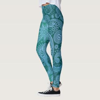 Leggings Motif bleu turquoise abstrait