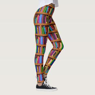 Leggings Motif coloré de lecture de l'étagère   de