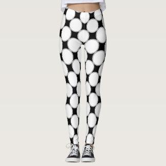 Leggings Motif de points   géométrique noir et blanc