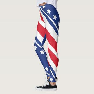 Leggings Motif diagonal blanc de drapeau patriotique et
