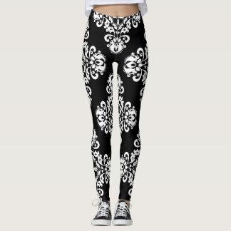 Leggings Motif élégant de damassé noir et blanc