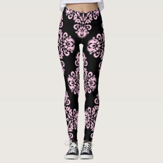 Leggings Motif élégant de damassé pâle - rose sur le noir