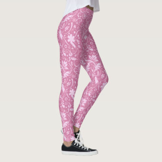 Leggings Motif floral rose de damassé