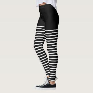 Leggings Motif noir et blanc de rayures barré