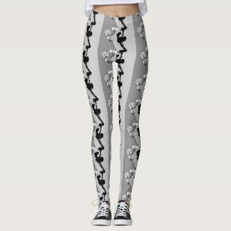 Leggings Motif noir et blanc d'orchidées