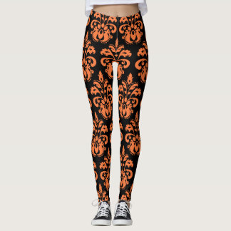 Leggings Motif noir orange de damassé