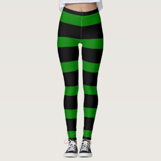 Leggings Motif rayé mignon dans le noir et le vert de Kelly