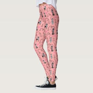 Leggings Motif rose de cool de noir de mod de les années 50