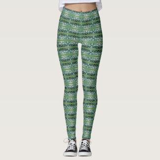 Leggings Motif vert et blanc de rayure