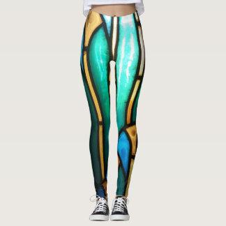 Leggings Motif vert et jaune en verre souillé