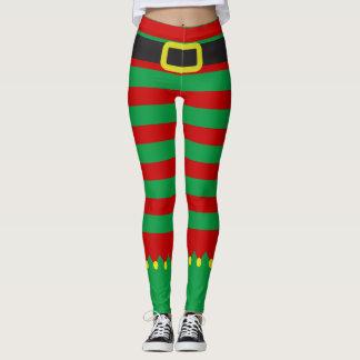 Leggings Noël rouge vert rayé de nouveauté d'Elf