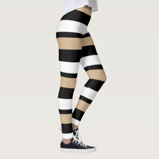 Leggings Or noir et blanc Horizontal-Rayés