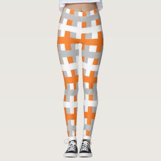 Leggings Orange abstraite, argent et blanc