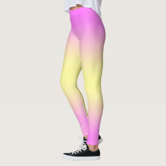 Leggings Pantalon fait sur commande rose et jaune de yoga