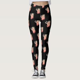 Leggings Pantalon rose de fleur de guêtres florales noires